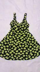 黄色フラワー花柄フレアタンキニチュニックタンクトップス&ショーツ一体型ワンピース水着黒