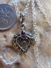 Silver925 純銀 ハート 紫CZ + svチェーン40cm   n193