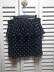 タグ付き新品 ヘプラム イーハイフン シフォンミニスカート バラ柄 ブラック M