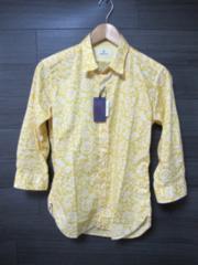 □EDIFICE/エディフィス デザイン 7分袖 スリムフィットシャツ/44(S)☆新品