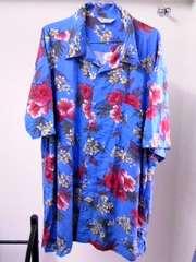 大寸★アロハシャツ★ハイビスカス★ブルー新品★サイズ5L★