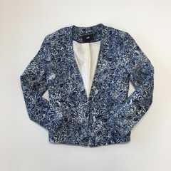 リナオク H&M エイチアンドエム 紺×白 柄ノーカラージャケット