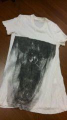 JULIUSユリウス/白スカルプリントロング丈Tシャツ/size1