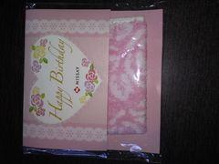 タオルハンカチ 薔薇柄 ピンク色