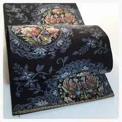 正絹 袋帯 黒地 モダン 華柄 織り 六通柄 中古品