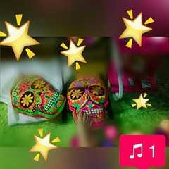 シュガースカルカラベラ刺繍クッション2個ネオンカラーメキシコ