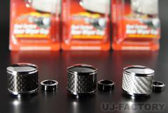 【JDM】◆リアルカーボン・リアワイパーキャップ◆ブラッククロームブラックトップ Mサイズ