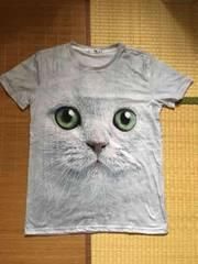 定形外込。猫フェイス転写プリントTシャツ。グレー緑目