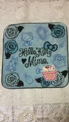 新品mimoミモ×ハローキティコラボ☆タオルハンカチガルシアマルケスバラ柄ブルー