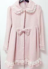 ラパフェ*姫系ピンクツイードコート*リボン 丸襟 Aライン