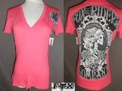 ◆USA購入【フォックス】FOX バックプリントVネックT US XS Pink