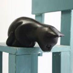 のぞき見ネコ猫の置物木彫りインテリアねこ動物雑貨