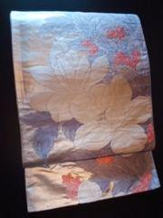 銀箔*白ピンク華袋帯正絹六通チョー美品レタP