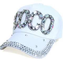 帽子♪ビジュー×ストーン COCO キャップ CAP ホワイト