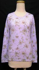 rivet and surgeフラワー花柄ラウンドネック&長袖綿カットソーロンTトップス紫