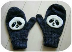 ♪美品♪手編み風♪グレー♪パンダ♪可愛い手袋♪ニット♪