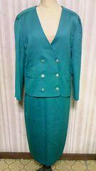 ROSATノーカラートレンチジャケット&スリットロングスカートウール毛セットアップスーツグリーン緑