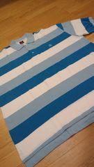 elementカノコボーダーポロシャツ 白青 ロゴ刺繍 3XLXXXL →4XL位 �H