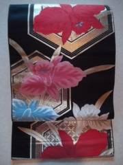 黒/華ヤカカトレア*袋帯正絹ナゴヤチョー美品レタR