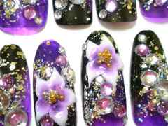 黒紫斜めエアー*グラデ花〓〓ガラスL/成人式〓