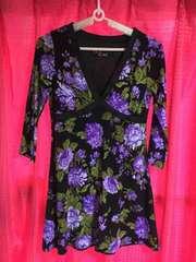 セシルマクビー!アゲハ系七分袖ワンピ!黒×紫セクシーワンピ