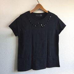 ◆ZARA/ザラ◆ビジュー付Tシャツ★ブラックS*ゆったりめサイズ感♪シンプルコーデ