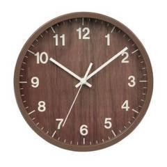 木目調 壁掛け時計 ウォールクロック ダークブラウン