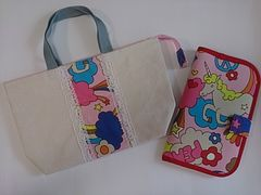 A  ◆ 母子手帳入れ&帆布ファスナー付きバッグ set  (^o^)