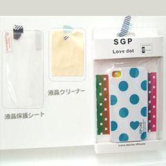 iPhone4/4S対応カバー★ラブドット★液晶クリーナー付 SB