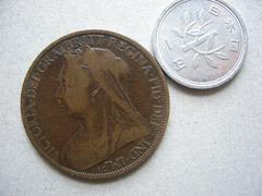 【送料無料】イギリス 英国 銅貨1900 年 女王ビクトリア◇A20
