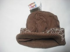 wb606 ROXY ロキシー つば付き ニット帽 ビーニー 茶