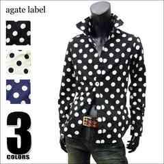 agate 国産ドット柄ドレスシャツ ブラック LL[124023]