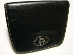 アイグナー/AIGNER 革製二つ折り財布(黒)