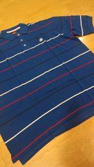 elementカノコボーダーポロシャツ 青赤白 ロゴ刺繍 3XLXXXL→4XL位 �K