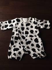 新生児〜牛柄カバーオール60長袖 日本製