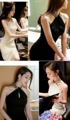 白☆ロングドレス☆首元スパンコールでゴウジャス