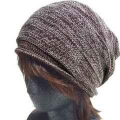 帽子♪コットンニット ギャザード ワッチ*ニット帽*ブラウン系