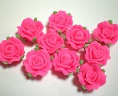 激安即決樹脂薔薇・ショッキングピンク・10個・12ミリ