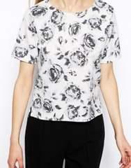 白黒グレー花柄半袖カットソーショート丈凹凸デザインイギリスS