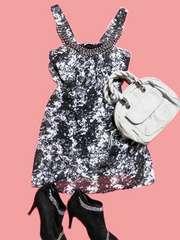 黒白タイダイスタッズゴールドチェーンチュニックワンピドレス