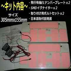 超薄型!EL字光ナンバープレート2枚組/防水自光ナンバー