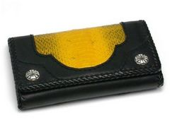新品未使用★黄色いヘビ革財布/3つ折りミドルウォレット