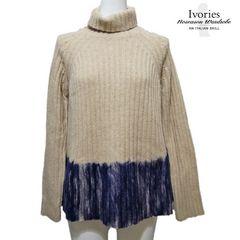 新品アイボリーズIvoriesイタリア製セーターニットベージュ紺38