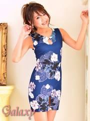 6480★Lサイズ★花柄エスニック風チャイナラインワンピース*ブルー
