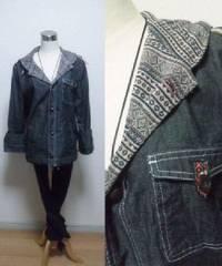■新品★裏地もお洒落なデニム風パーカージャケット(L)