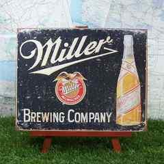 ★新品★【ブリキ看板】Miller/ミラー ビンテージ瓶
