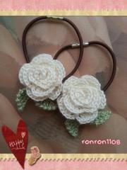 ハンドメイド/手編み♪レース編みお花のヘアゴム2個セット 557