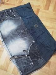 GILFY/ギルフィー綿×デニム 異素材 ファスナー飾り ミニスカート