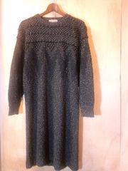 ISSEY MIYAKEイッセイミヤケ編み柄絹レーヨンニットワンピ