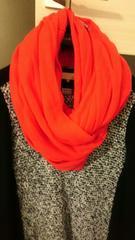 オンワード樫山 ONWARD 自由区  羊毛カシミア スヌード 羽織りにも!オレンジ